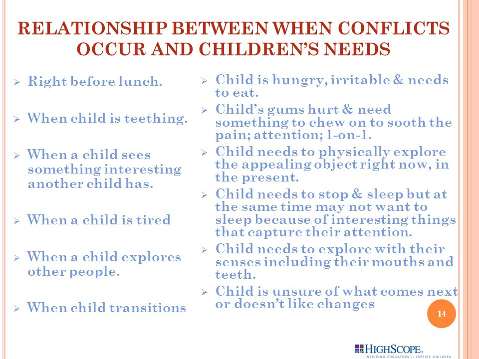RELATIONSHIP BETWEEN WHEN CONFLICTS OCCUR AND CHILDREN'S NEEDS