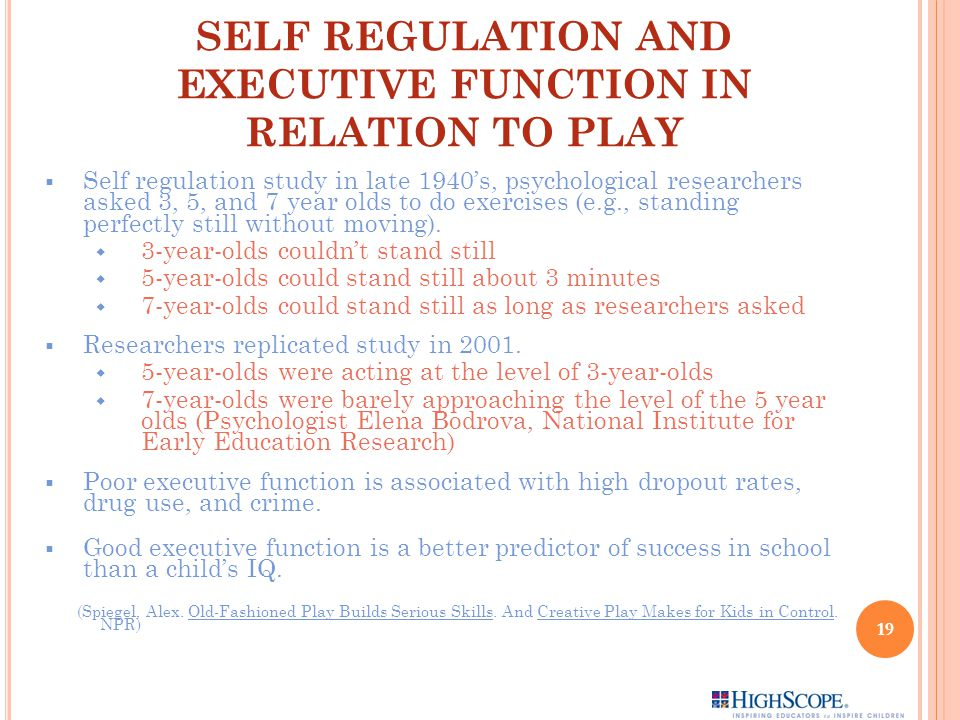 SELF REGULATION AND EXECUTIVE FUNCTION IN RELATION TO PLAY