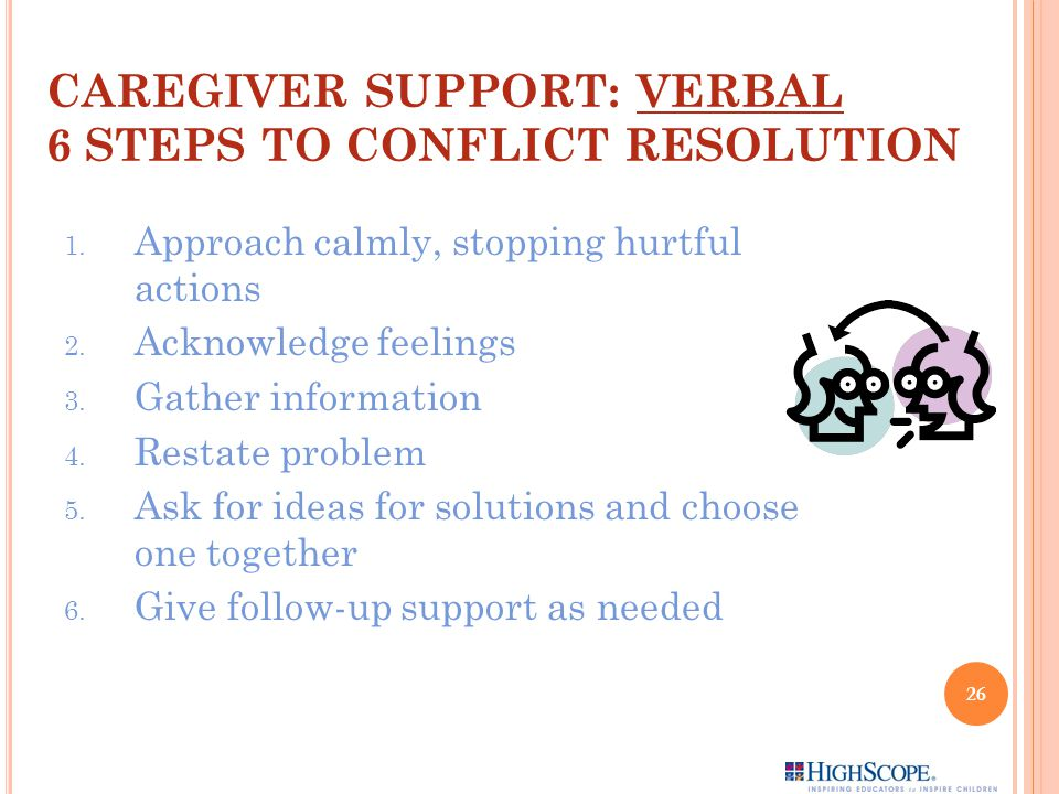 CAREGIVER SUPPORT: VERBAL 6 STEPS TO CONFLICT RESOLUTION
