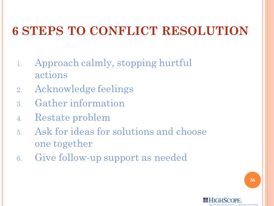 6 STEPS TO CONFLICT RESOLUTION