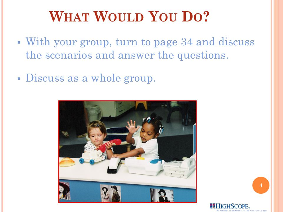 What Would You Do With your group, turn to page 34 and discuss the scenarios and answer the questions.