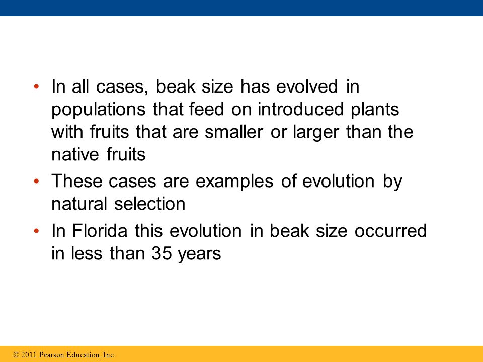 These cases are examples of evolution by natural selection
