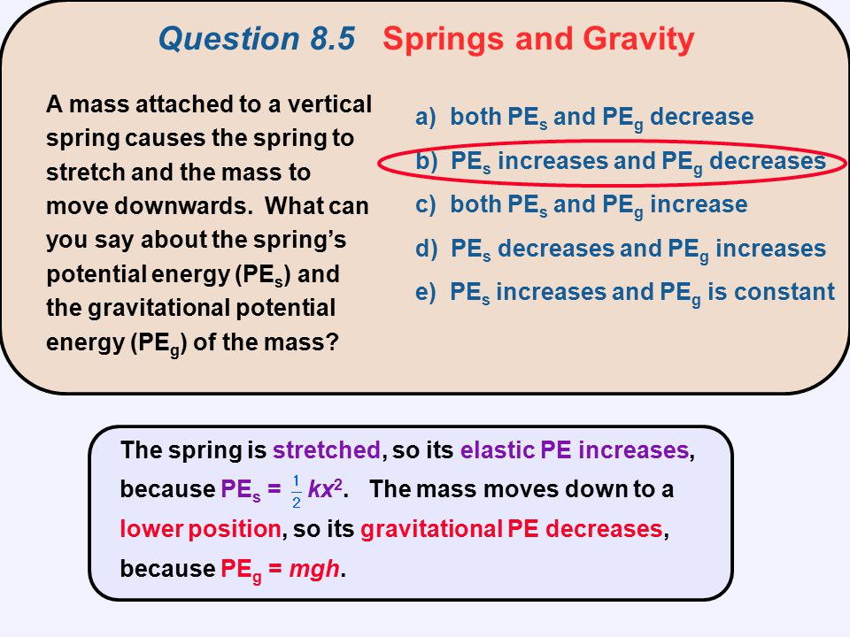 Question 8.5 Springs and Gravity
