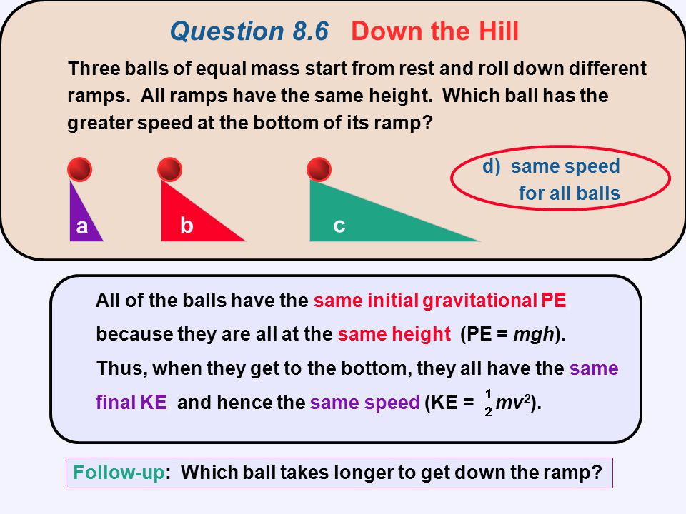 Question 8.6 Down the Hill a b c