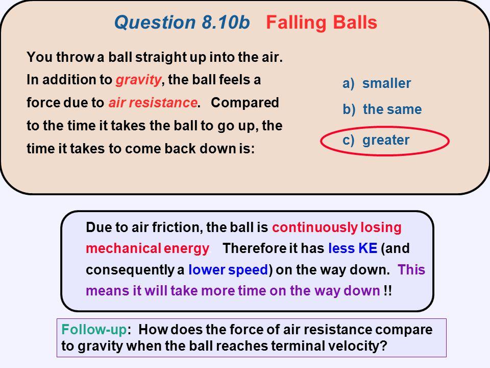 Question 8.10b Falling Balls