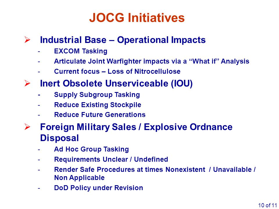 JOCG Initiatives Industrial Base – Operational Impacts
