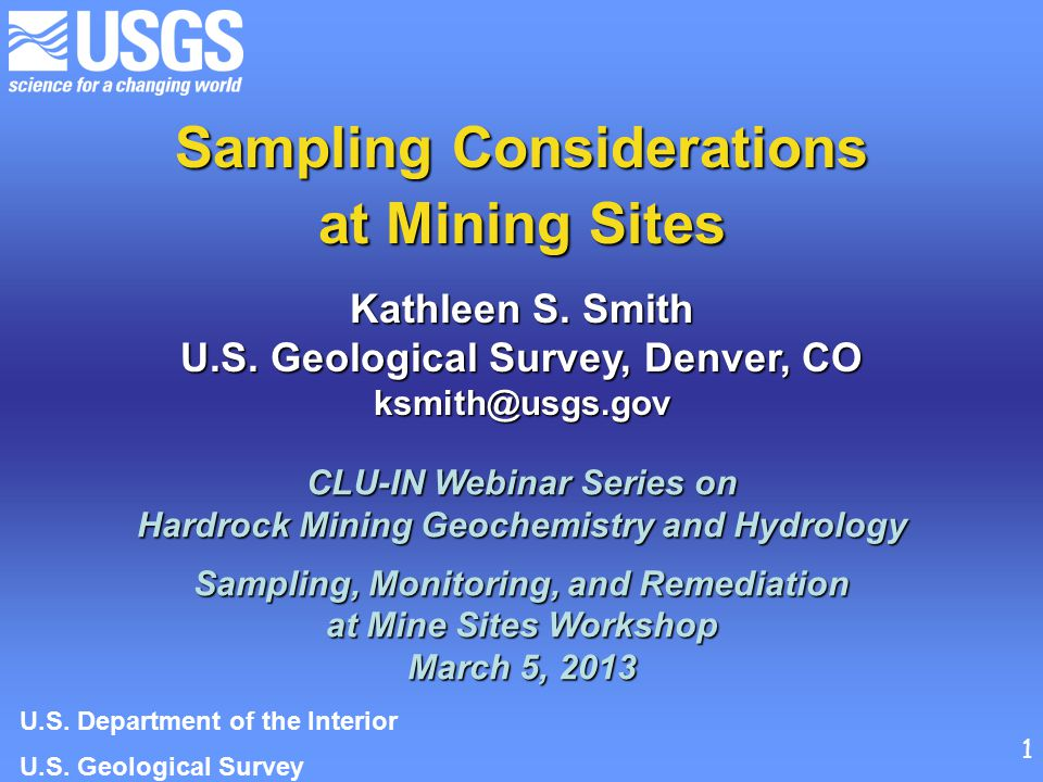 Sampling Considerations at Mining Sites