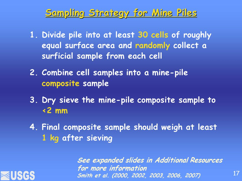 Sampling Strategy for Mine Piles