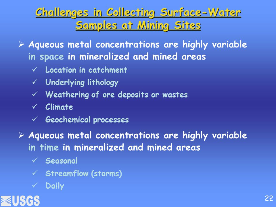 Challenges in Collecting Surface-Water Samples at Mining Sites