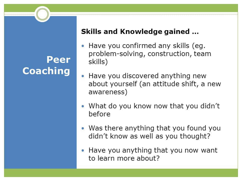 Peer Coaching Skills and Knowledge gained …
