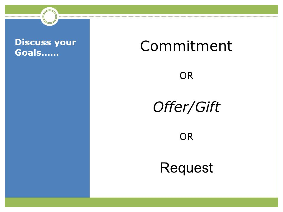 Discuss your Goals…… Commitment OR Offer/Gift Request