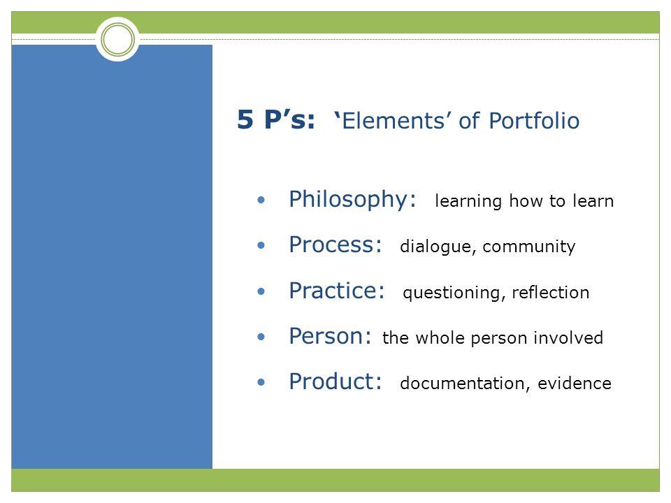 5 P's: 'Elements' of Portfolio