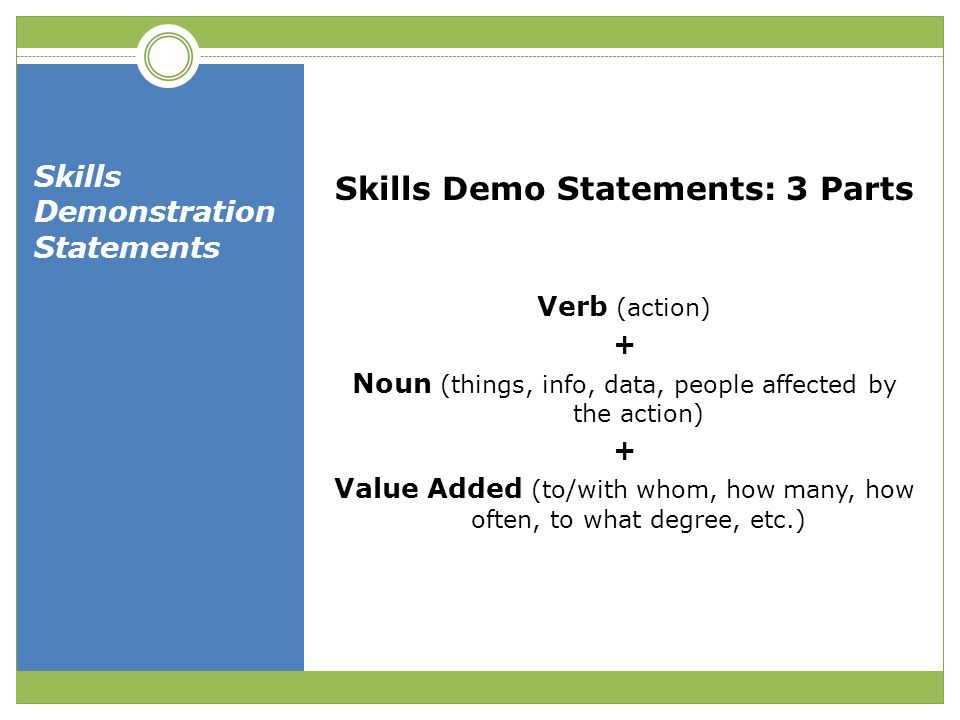 Skills Demonstration Statements