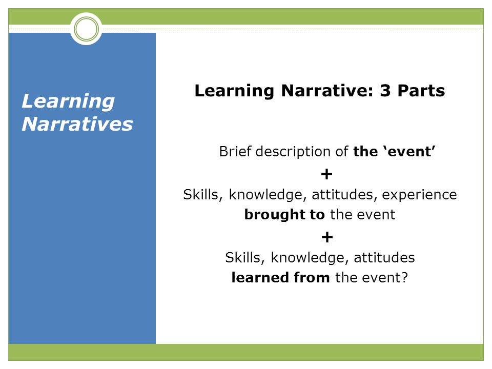 Learning Narrative: 3 Parts