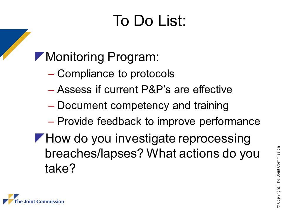 To Do List: Monitoring Program: