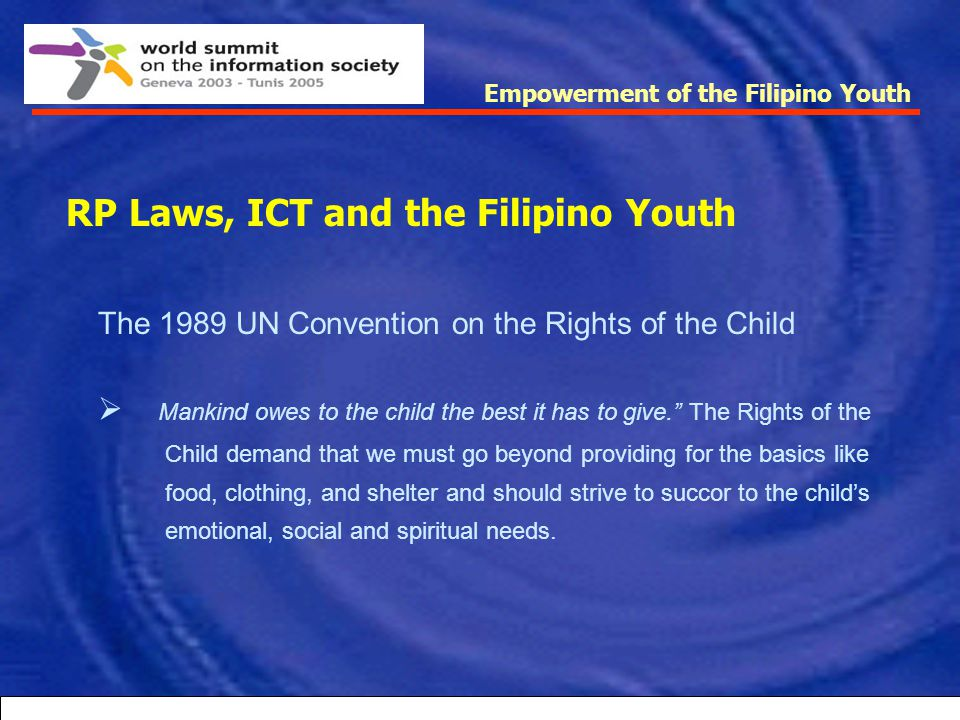RP Laws, ICT and the Filipino Youth