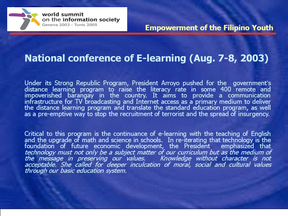 National conference of E-learning (Aug. 7-8, 2003)