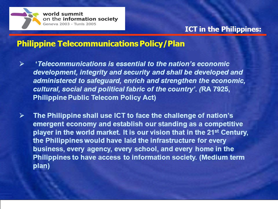 Philippine Telecommunications Policy/Plan