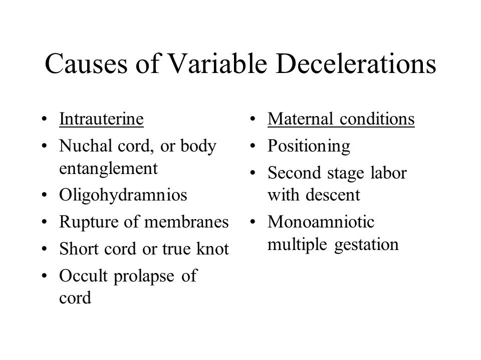 Causes of Variable Decelerations