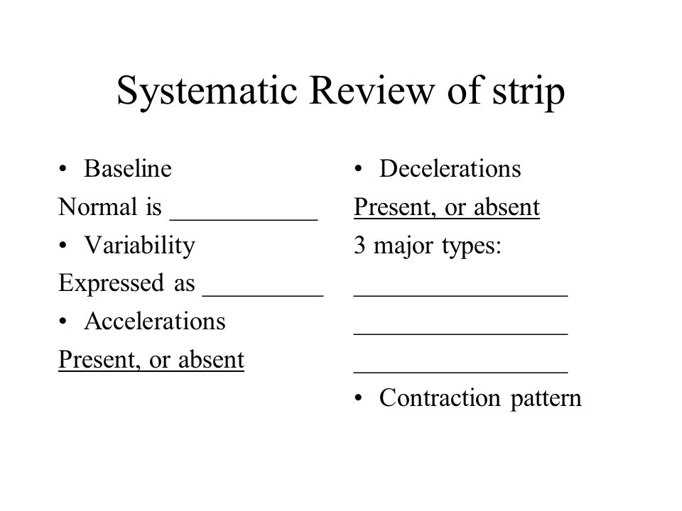 Systematic Review of strip