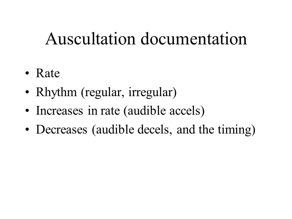 Auscultation documentation