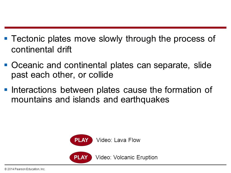 Tectonic plates move slowly through the process of continental drift
