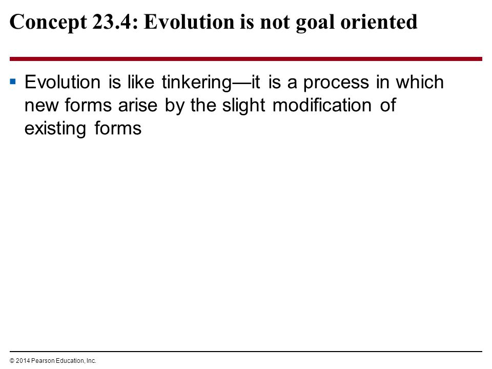 Concept 23.4: Evolution is not goal oriented