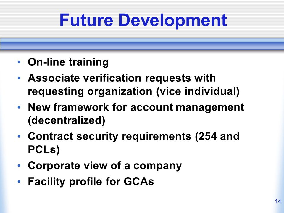 Future Development On-line training