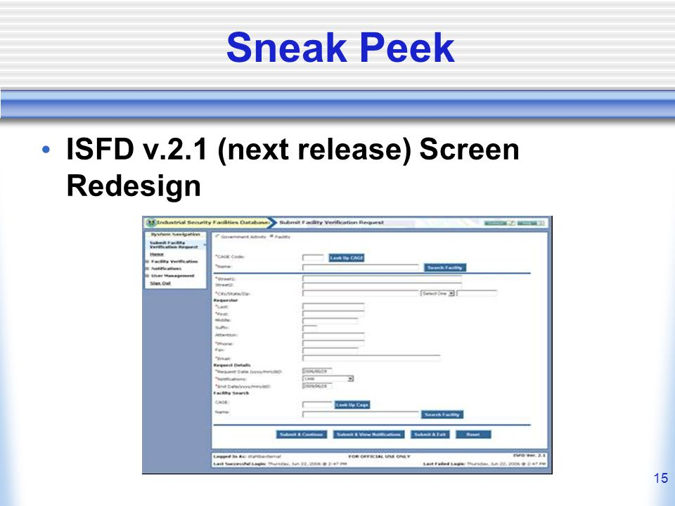 Sneak Peek ISFD v.2.1 (next release) Screen Redesign