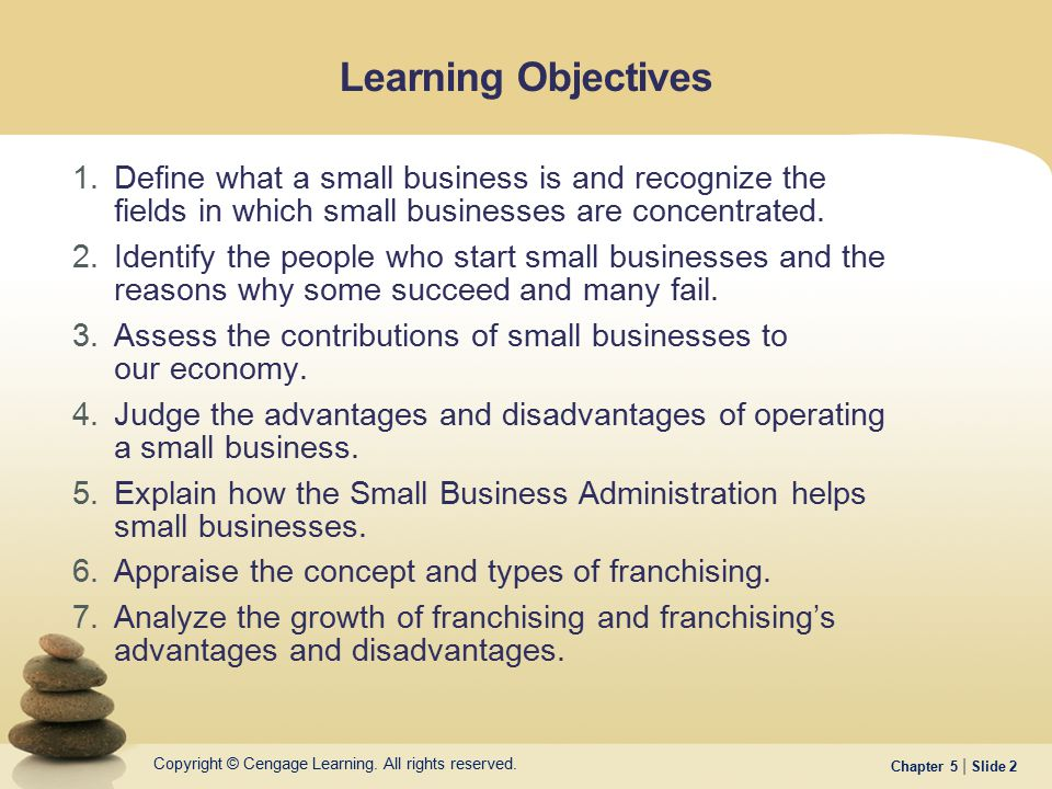 Learning Objectives Define what a small business is and recognize the fields in which small businesses are concentrated.