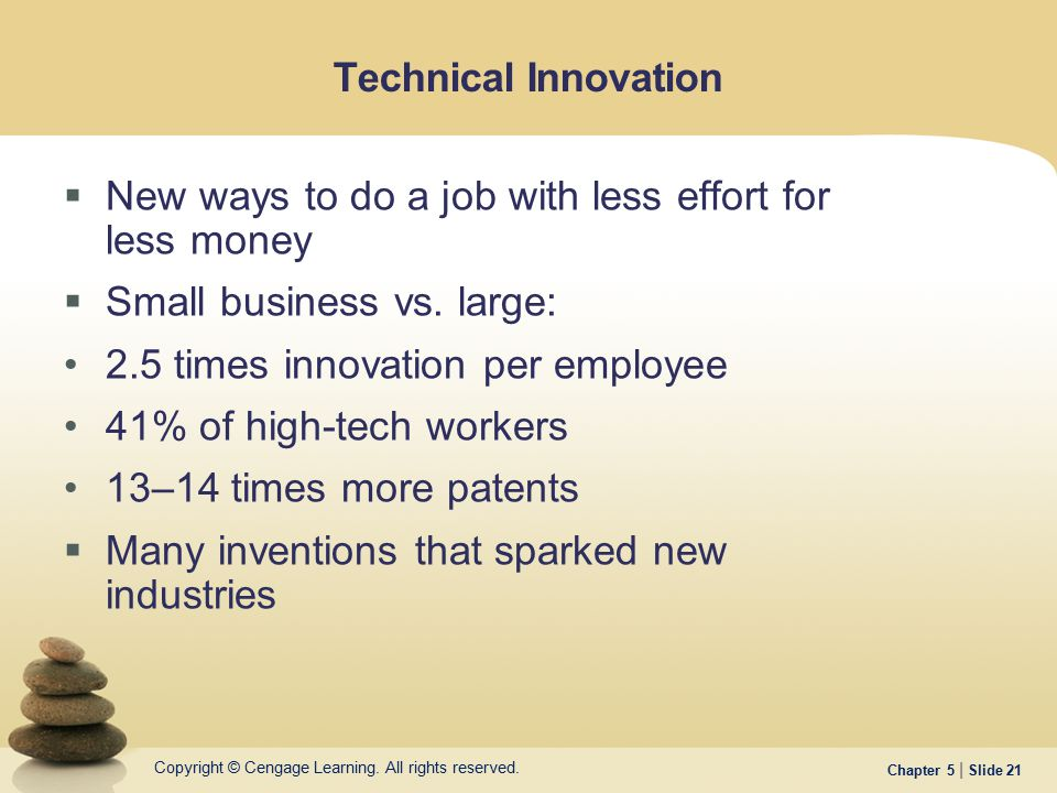 Technical Innovation New ways to do a job with less effort for less money. Small business vs. large:
