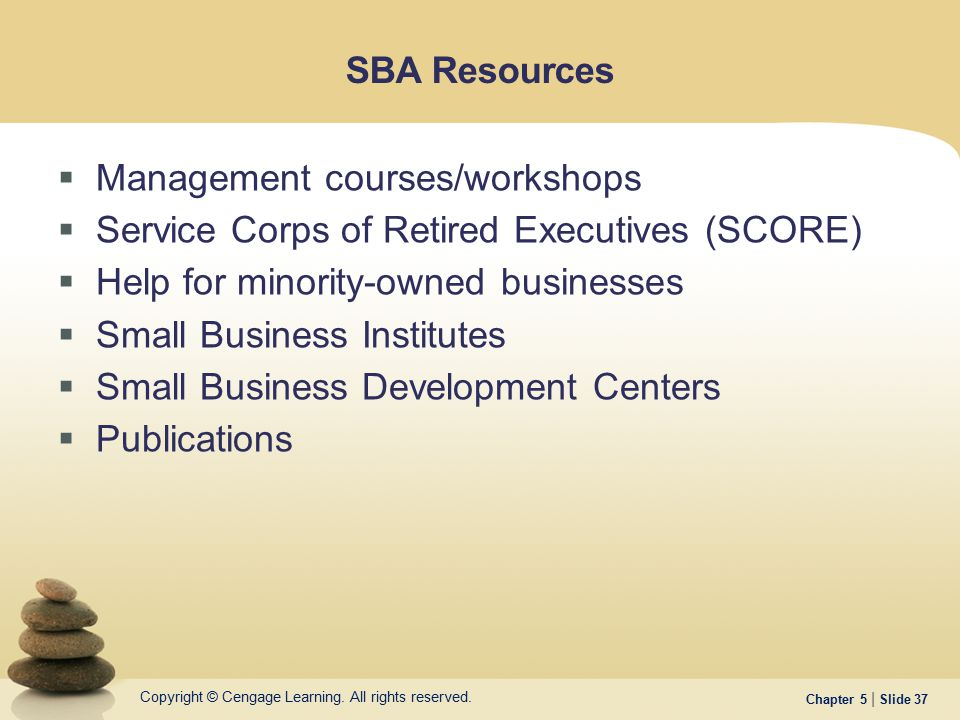 SBA Resources Management courses/workshops. Service Corps of Retired Executives (SCORE) Help for minority-owned businesses.