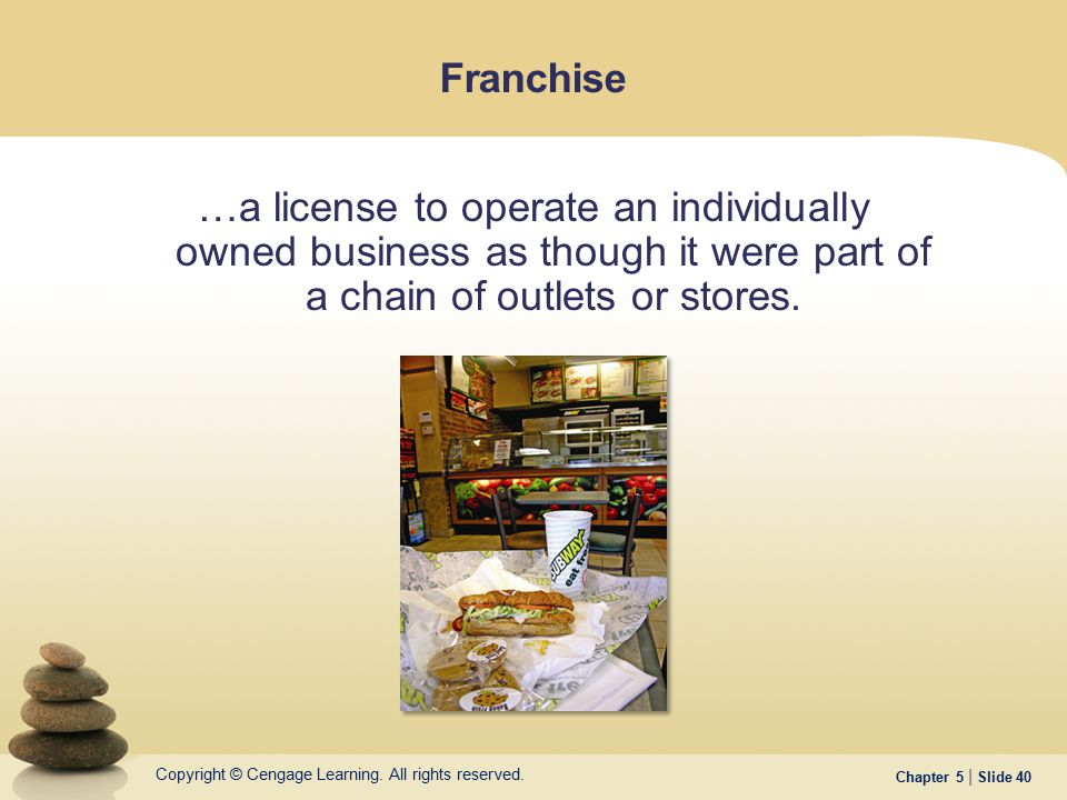 Franchise …a license to operate an individually owned business as though it were part of a chain of outlets or stores.