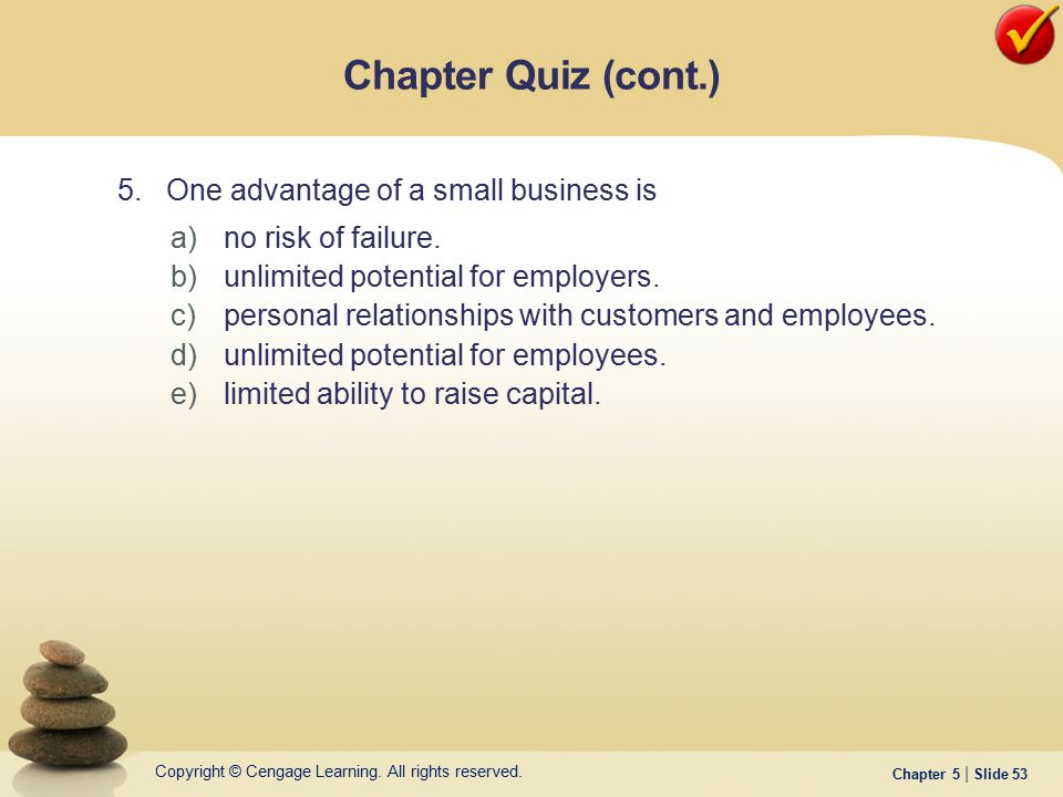 Chapter Quiz (cont.) 5. One advantage of a small business is