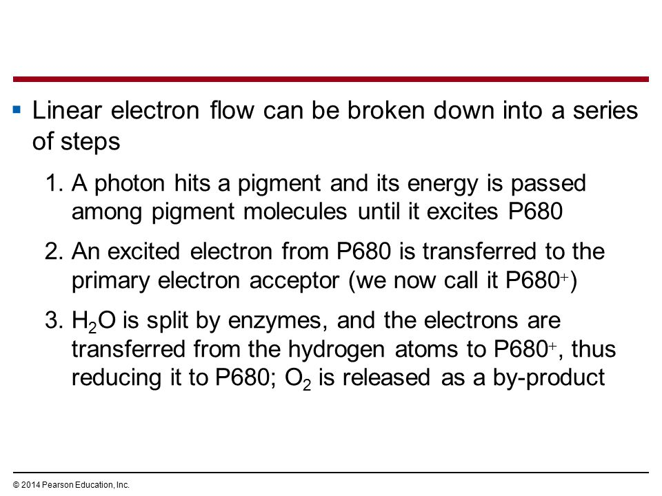 Linear electron flow can be broken down into a series of steps