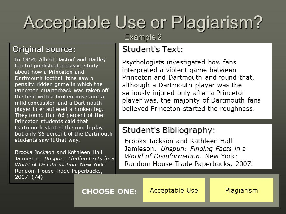 Acceptable Use or Plagiarism Example 2
