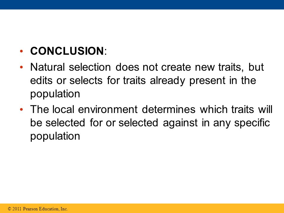 CONCLUSION: Natural selection does not create new traits, but edits or selects for traits already present in the population.