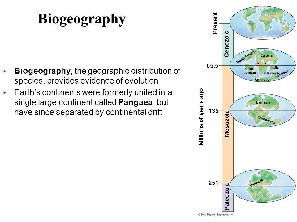 Biogeography Present. Cenozoic. North America. Eurasia. 65.5. Africa.