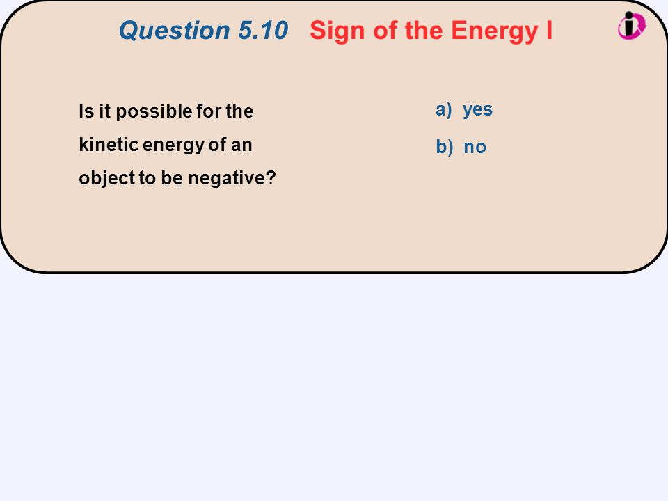 Question 5.10 Sign of the Energy I