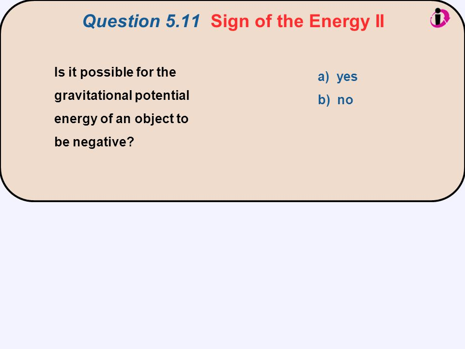 Question 5.11 Sign of the Energy II