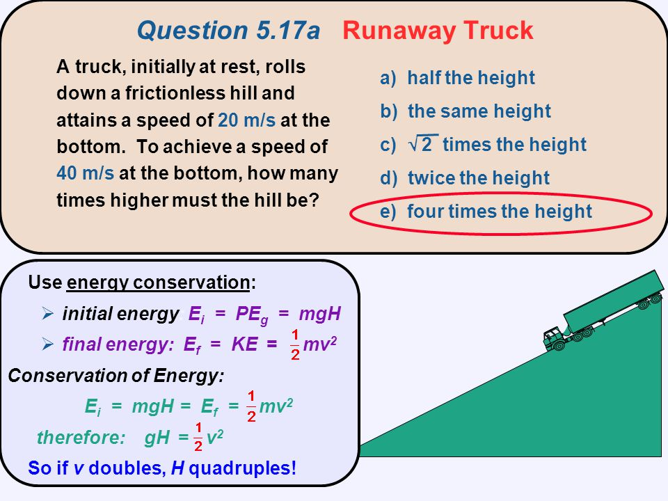 Question 5.17a Runaway Truck