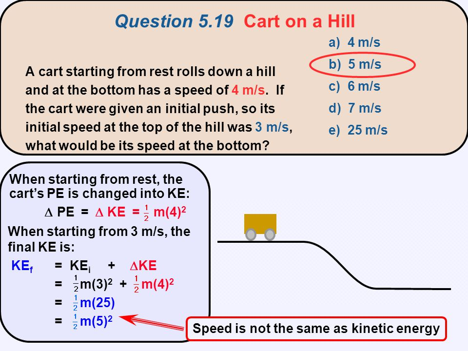 Speed is not the same as kinetic energy