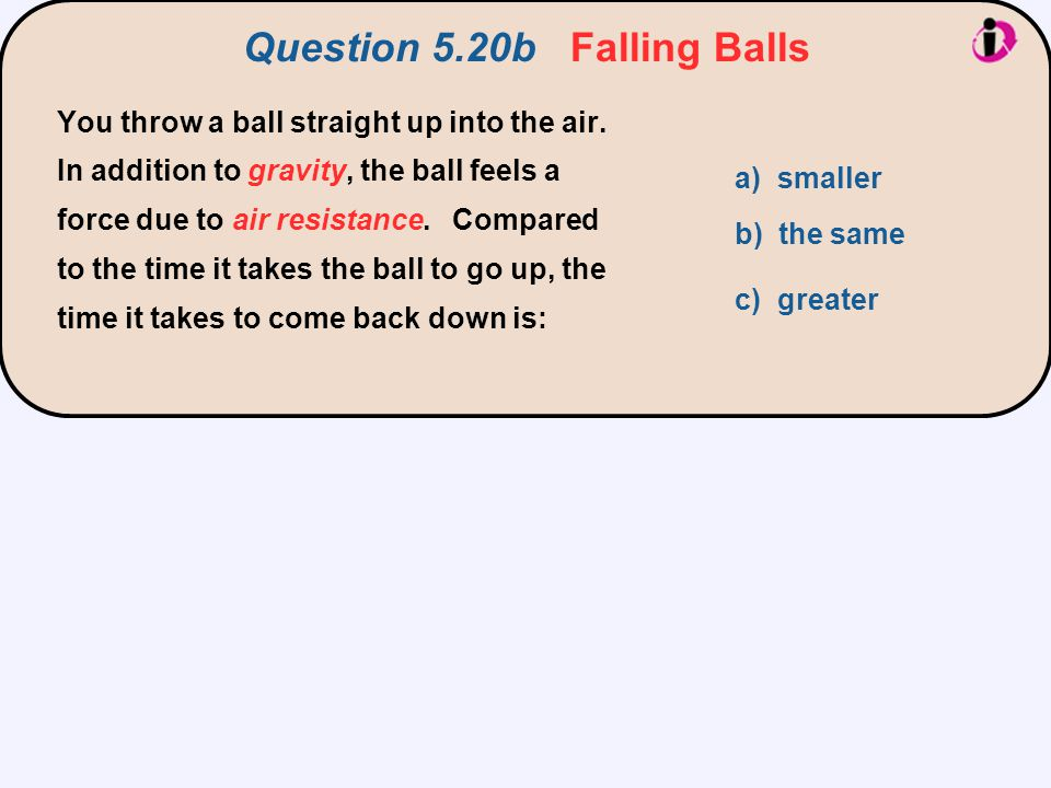 Question 5.20b Falling Balls