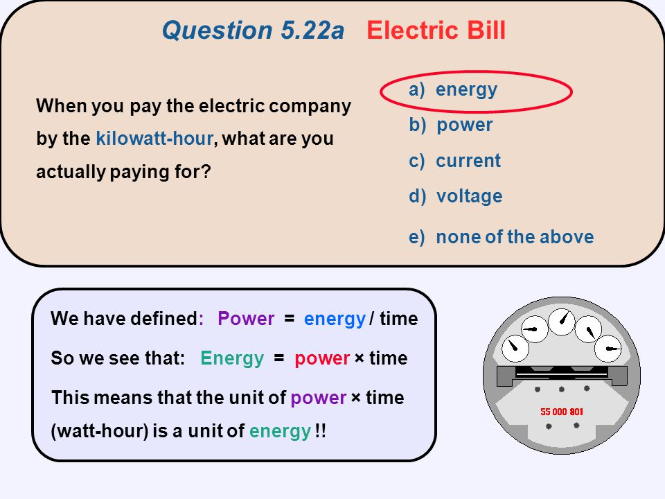 Question 5.22a Electric Bill