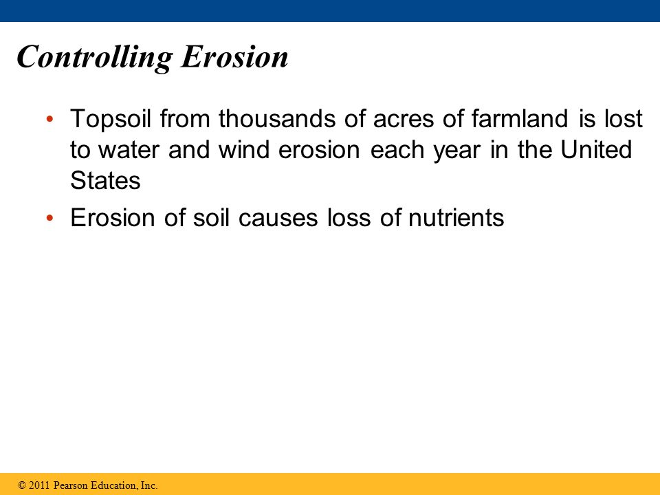 Controlling Erosion Topsoil from thousands of acres of farmland is lost to water and wind erosion each year in the United States.