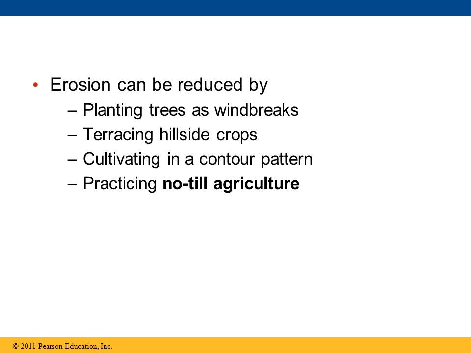 Erosion can be reduced by