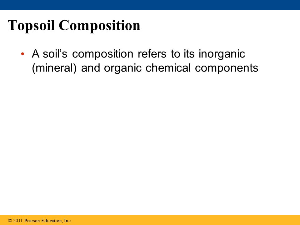 Topsoil Composition A soil's composition refers to its inorganic (mineral) and organic chemical components.