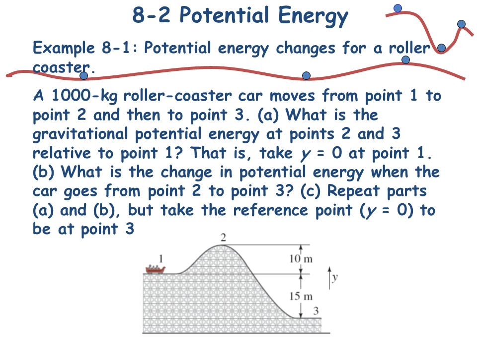 8-2 Potential Energy Example 8-1: Potential energy changes for a roller coaster.