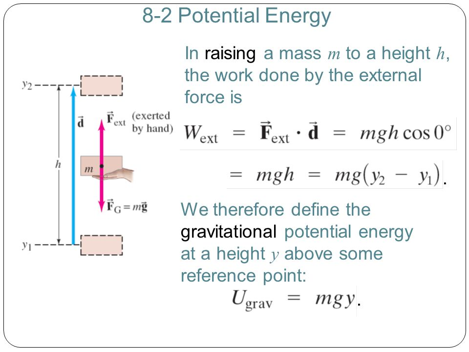 8-2 Potential Energy In raising a mass m to a height h, the work done by the external force is.