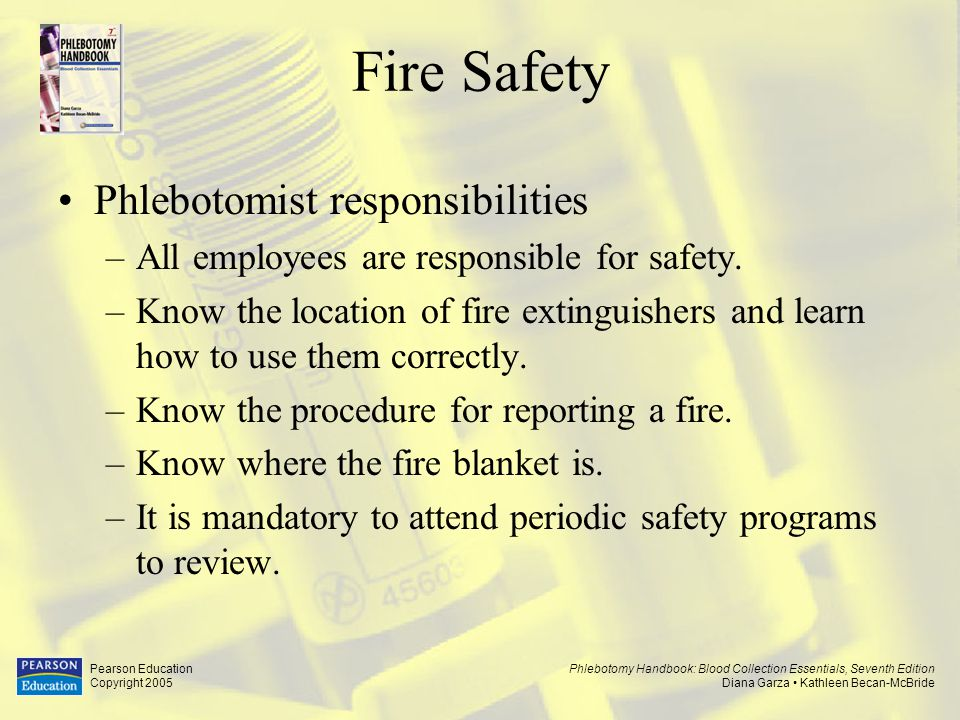 Fire Safety Phlebotomist responsibilities